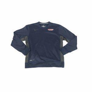 Nike Dri-Fit Therma-Fit Sweatshirt Mens Medium Navy Blue UCONN Huskies Crew Neck
